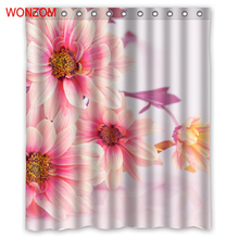 WONZOM Chrysanthemum Modern Polyester Flower Waterproof Accessories Shower Curtains For Bathroom Fabric Bath Curtain With Hooks
