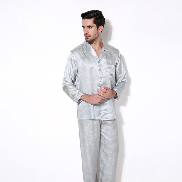 Luxury Male Sleepwear 100% Silk Long-Sleeve Men Pyjamas Pajama Sets Pants Autumn Men Silk Pajamas Set CMR16062