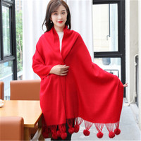 wool polyester blend women fashion korean style cute hair balls solid color thick scarfs shawl pashmina 70x200cm