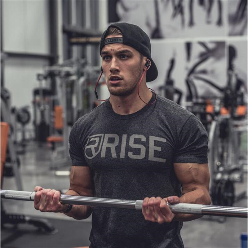 RISE Men's Tops Tees 2018 summer new cotton O neck short sleeve   t     shirt   men fashion trends fitness tshirt free shipping