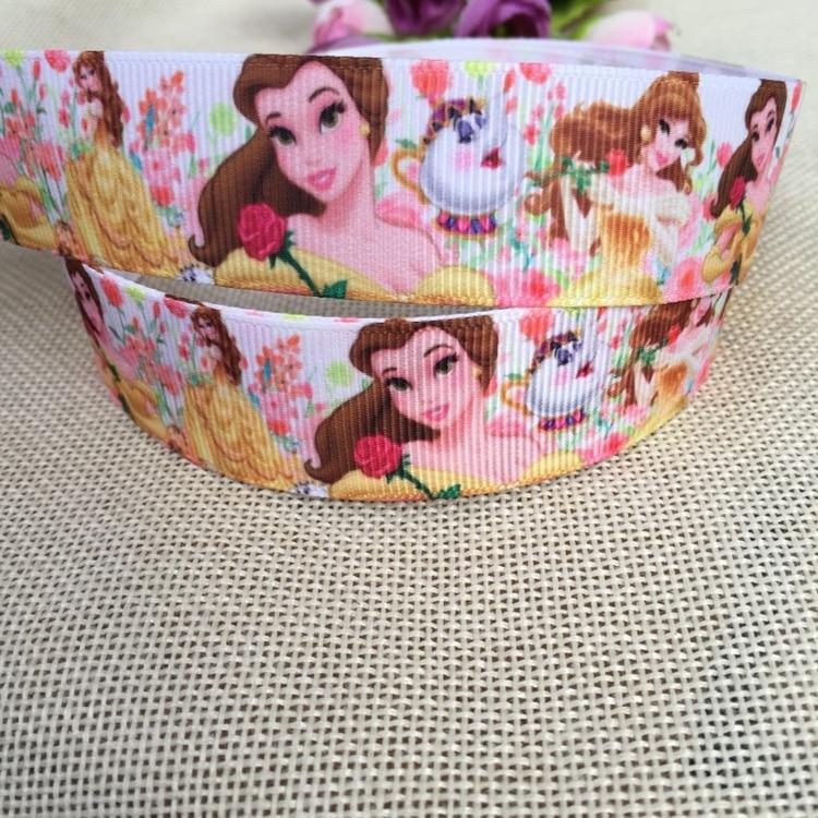 1 25MM new sales 10 yard princess Belle cartoon animals printed grosgrain ribbon cartoon ribbons cloth tape hair accessories