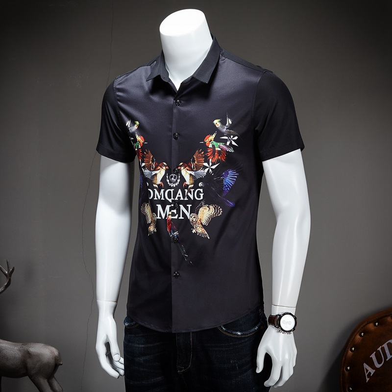 Mens Casual Shirt 2017 Fashion Personality Camisa Slim Fit Brand-clothing Designer Dress Shirts Men Short Sleeve Shirt Black