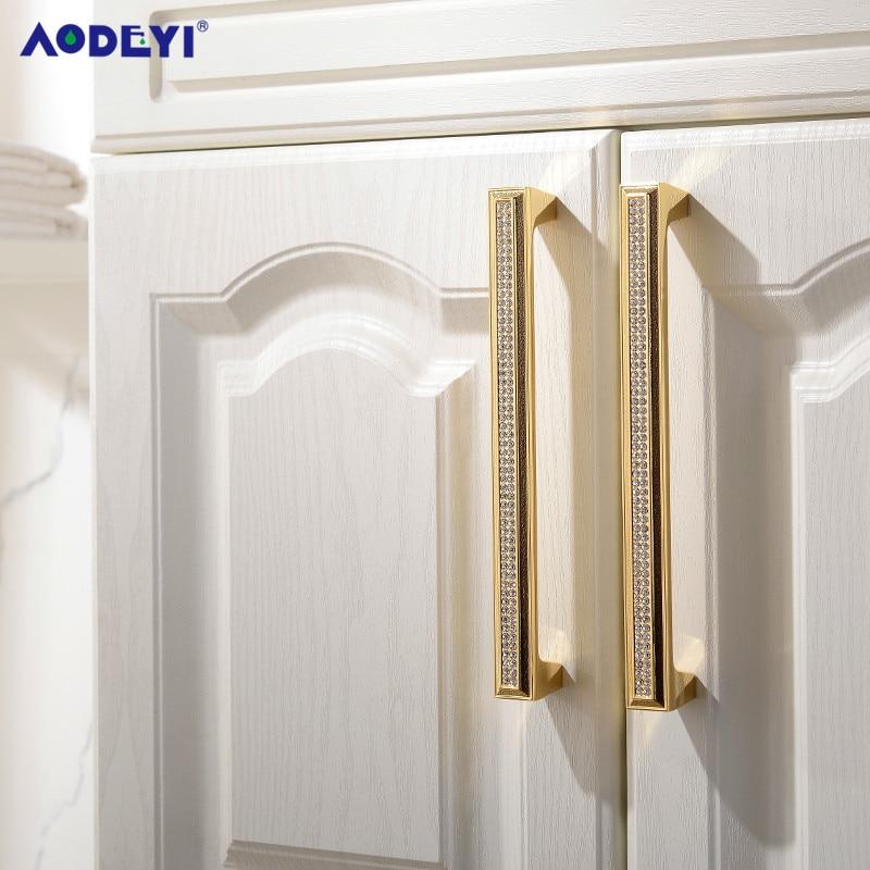 Luxury Drawer Cabinet Handles Wardrobe Cupboard Door Pull Czech Crystal 24K Gold or Chrome Homeware Furniture Handle 22-01 drawer