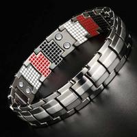 LITTLE FROG Health Magnetic Bracelets Bangles Wide Pure Titanium Hand Chain Link Energy Germanium Bracelet Men Fashion Jewelry