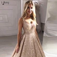 Роскошное розовое золото с пайетками платья для выпускного вечера