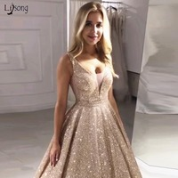Gorgeous Rose Gold Sequined Prom Dresses 2019 Sparkle Sequin A line Prom Gowns Sexy Backless Abiye Party Dress Robe De Soiree