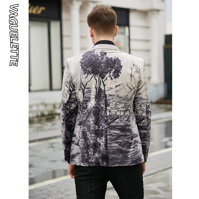 VAGUELETTE Elegant Mens Printed Blazer Slim Fit Casual Stage Clothes For Singers Luxury Velvet Stylish Wear For Men 2019 - 6