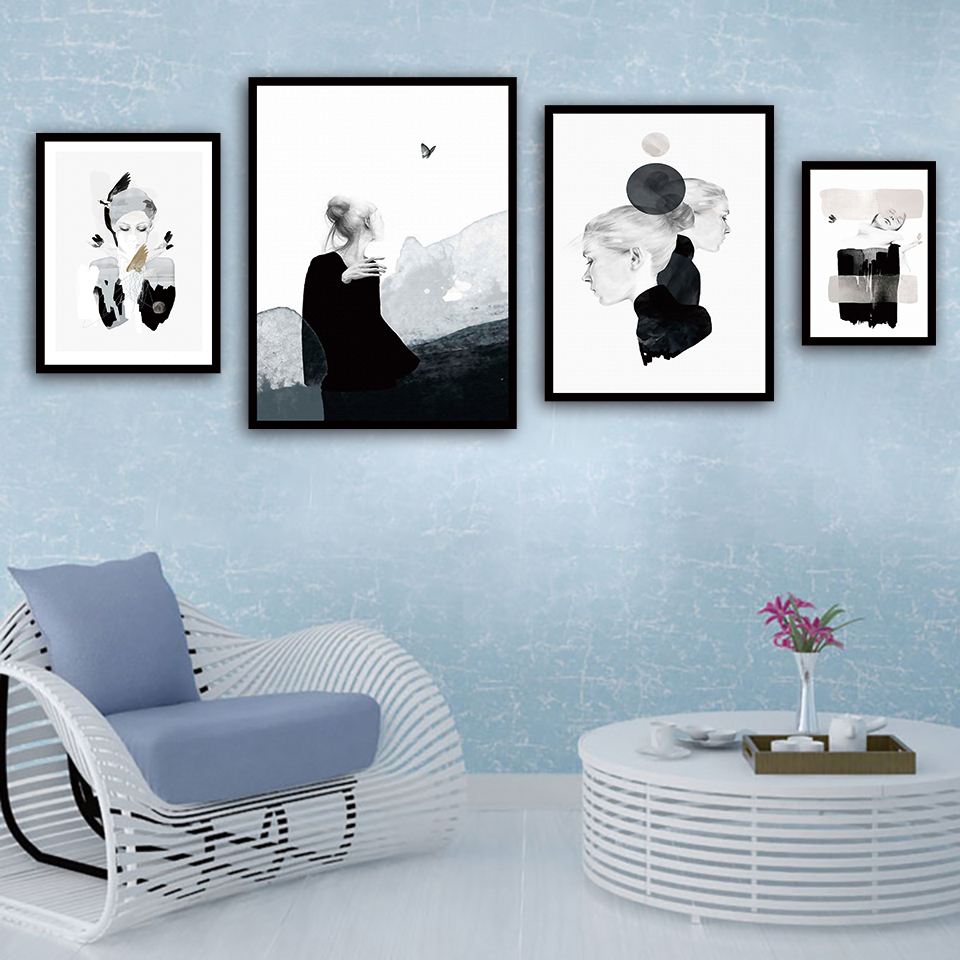 Black And White Artwork For Bedroom Us 1 93 40 Off Minimalist Black And White Watercolor Pictures Prints Fashion Girl Painting Nordic Canvas Poster Bedroom Wall Artwork Home Decor In