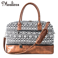 Mealivos 2017 Fashion Canvas Large Weekend Bag Overnight Travel Carry On Duffel With Shoe Pouch Duffel