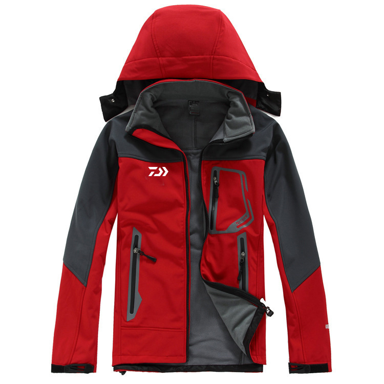 2020 New Daiwa Fishing Jacket Autumn Winter Fleece Warm Hiking Camping Fishing Clothing Men Waterproof Hooded DAWA Fishing Shirt