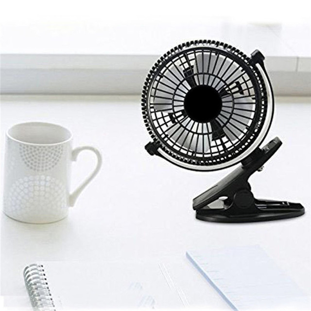 Portable 2 Gear Rocker Switch Mini Desk Fan Clip-on Quiet Table Fan USB Powered Cooling Flexible Computer Fan for PC Laptop 4