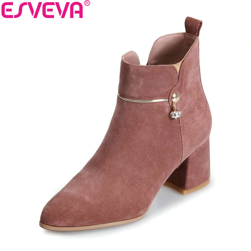 ESVEVA 2018 Women Boots Sweet Style Crystal Ankle Boots Short Plush/PU Pointed Toe Square High Heel Slim Look Shoes Size 34-39 esveva 2018 women boots short plush pu lining elastic band pointed toe square high heels ankle boots ladies shoes size 34 39