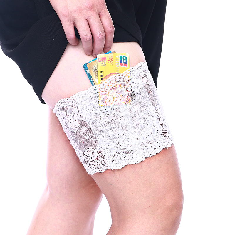 1PC  Women's Sexy Concealed Lace Socks Thigh Purse Holster Garter With Pockets Holder For Cellphone Card Drop Shipping