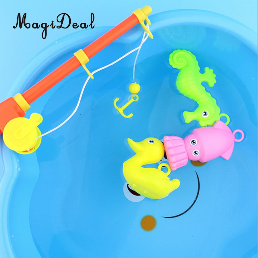 MagiDeal 3 Pieces Fish Game Kids Baby Fishing Pretend Role Play Bath Bathtime Educational Toy for Amusement Park Swimming Pool