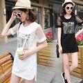 Além disso big size tops blusas feminina primavera verão estilo 2016 new coreano da forma das mulheres t camisas de Organza branco preto bonito A0124