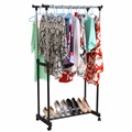 Double Clothing Racks Hanger Furniture Folding Clothes Rail Hanging Garment Dress On Wheels with Shoe Rack us6