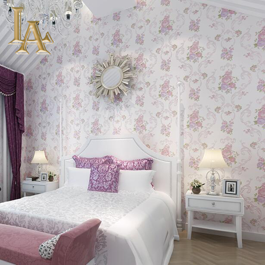 Stylish purple wallpaper bedroom for Pink living room wallpaper