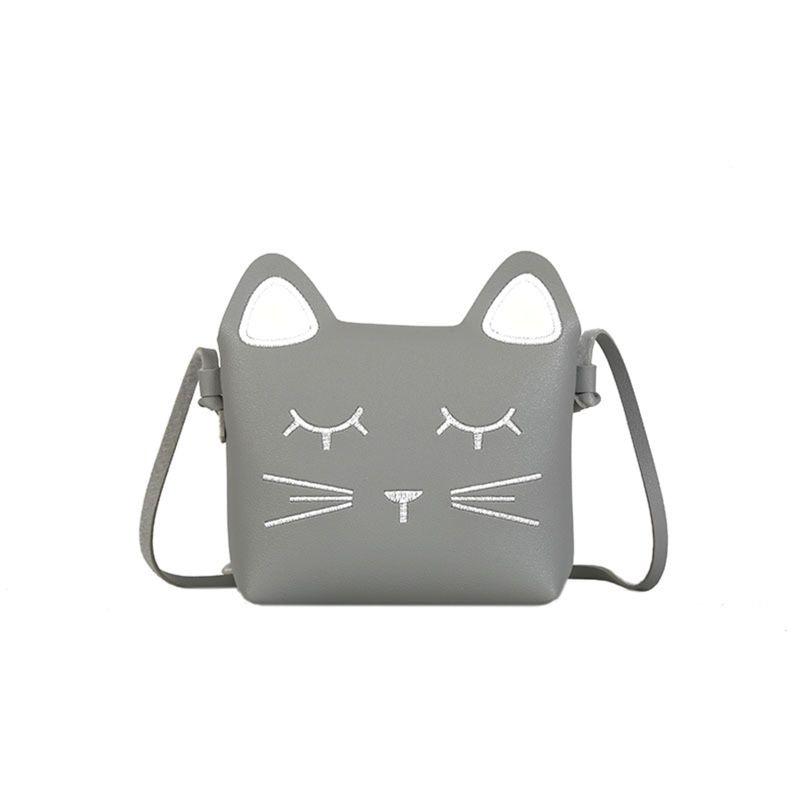 Alta qualidade novo couro do plutônio pequenas meninas bolsas rosa bonito gato ombro crossbody saco para crianças da criança meninas