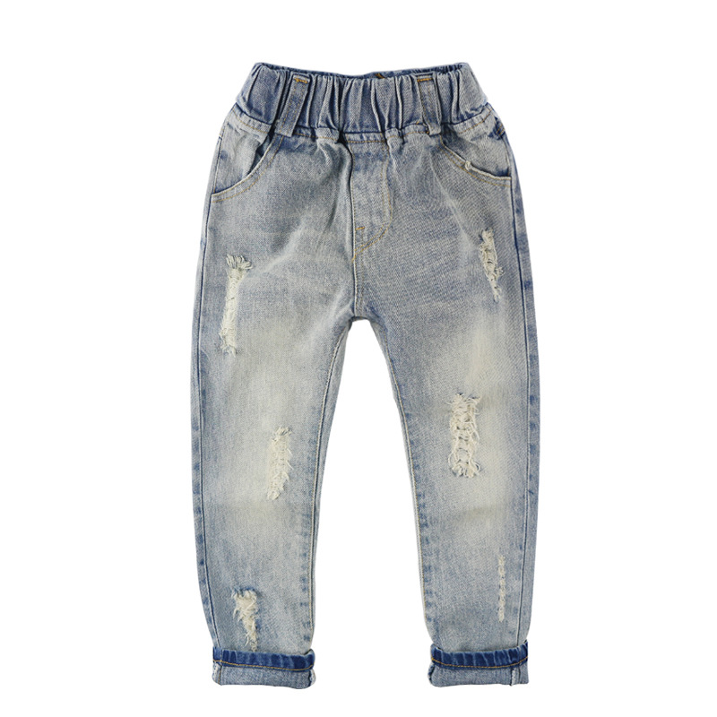d39a09095e368 US $8.99 25% OFF|Fashion Boys Jeans Baby Girls Jeans Children Clothing  Elastic Waist Casual Ripped Denim Pants Trousers Kids Clothes For Boy  Girl-in ...