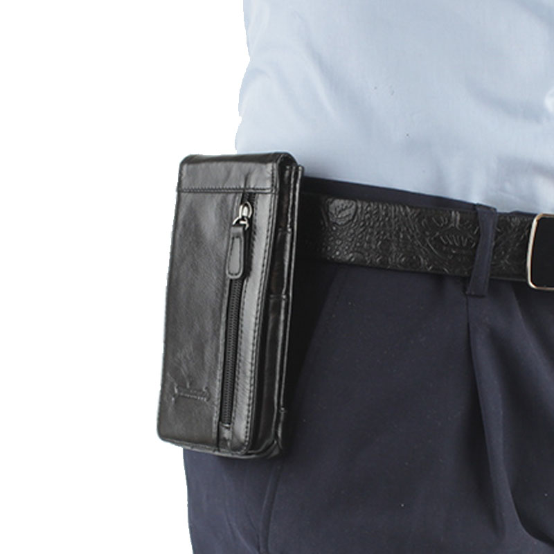 2018 Men Genuine Leather Mobile Phone Case Pocket Purse Cigarette Hip Belt Bum Fanny Waist Bag Multi-purpose Pack ...