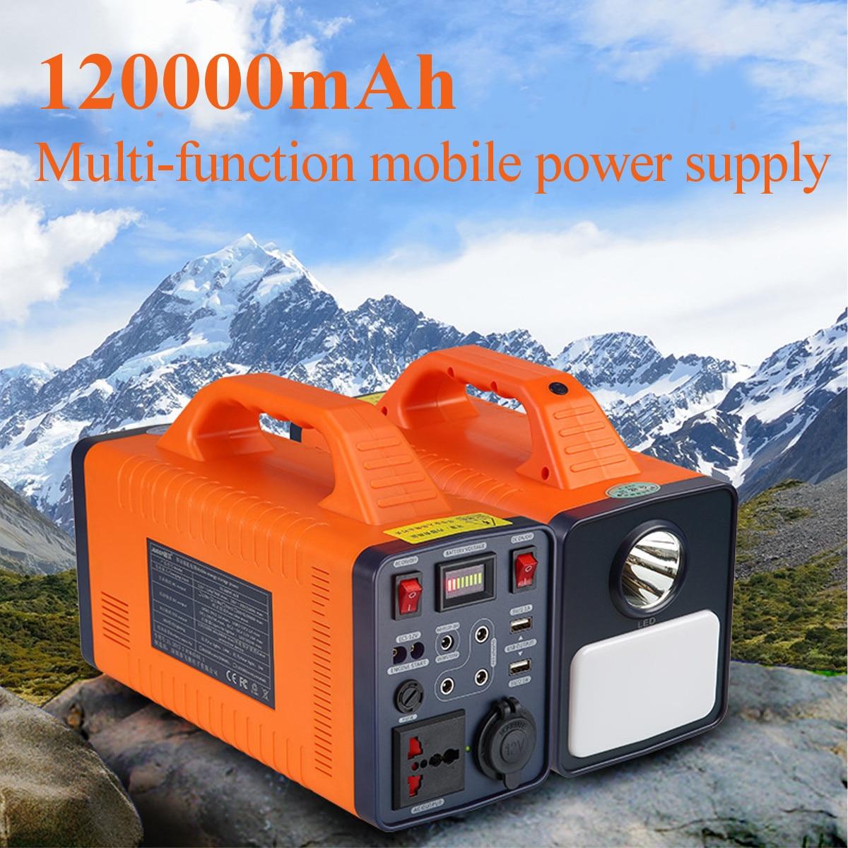 цена на 120000mAh 444Wh 300W Portable Solar Power Storage Generator Inverter Camping Light Multifunction Portable Mobile Power Supply