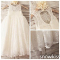 2016 boho keyhole back A-line french lace flower girl dresses for beach weddings kid first communion dress princess party frocks