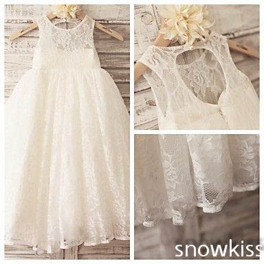 все цены на Ivory boho keyhole back A-line french lace flower girl dresses for beach wedding kid first communion dress princess party frocks