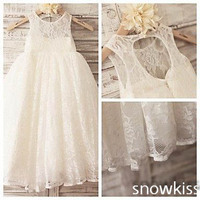 Ivory boho keyhole back A line french lace flower girl dresses for beach wedding kid first communion dress princess party frocks