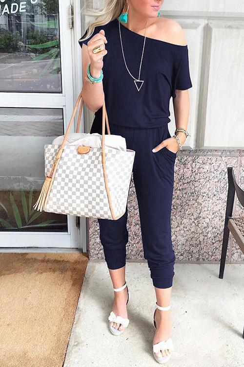 Solid Casual Sexy Off Shoulder Short Sleeve Women Suit 2019 New Arrival Women Summer Fashion Slim Elegant Long Rompers Female 27