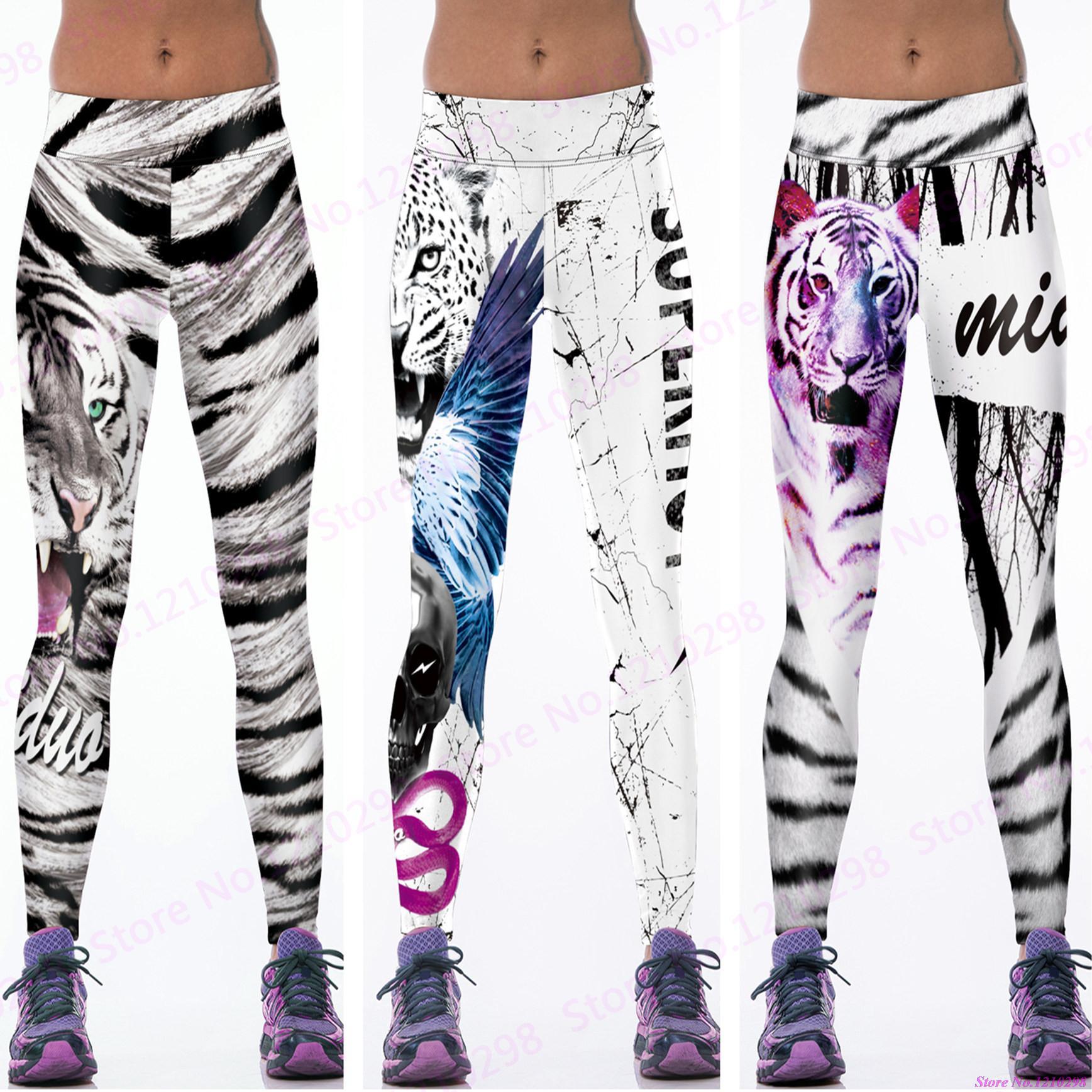 dd0d166508 Newest Women Slimming Training Fitness Sports Dance Trousers Jogging Wild Tiger  Yoga Pants Tight White Black Leopard Leggings