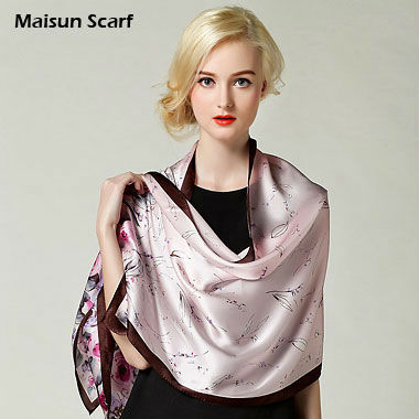 New 2016 autumn summer 100% Silk scarf wraps 170x52cm crepe satin scarves big size hijabs floral silk shawls