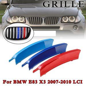 3pcs/Set 3d For BMW E83 X3 LCI 2007-2010 7 Poles grille Motorsport Power Car Front Grille Trim Sport Strips Cover Stickers