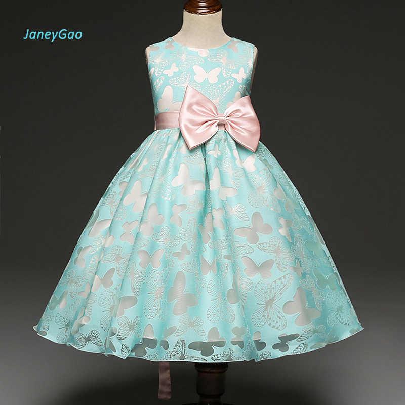 JaneyGao פרח ילדה שמלות 2019 חדש תחרות ראשית הקודש שמלות לתינוק קטן חתונה מסיבת שרוולים Bow זול מחיר