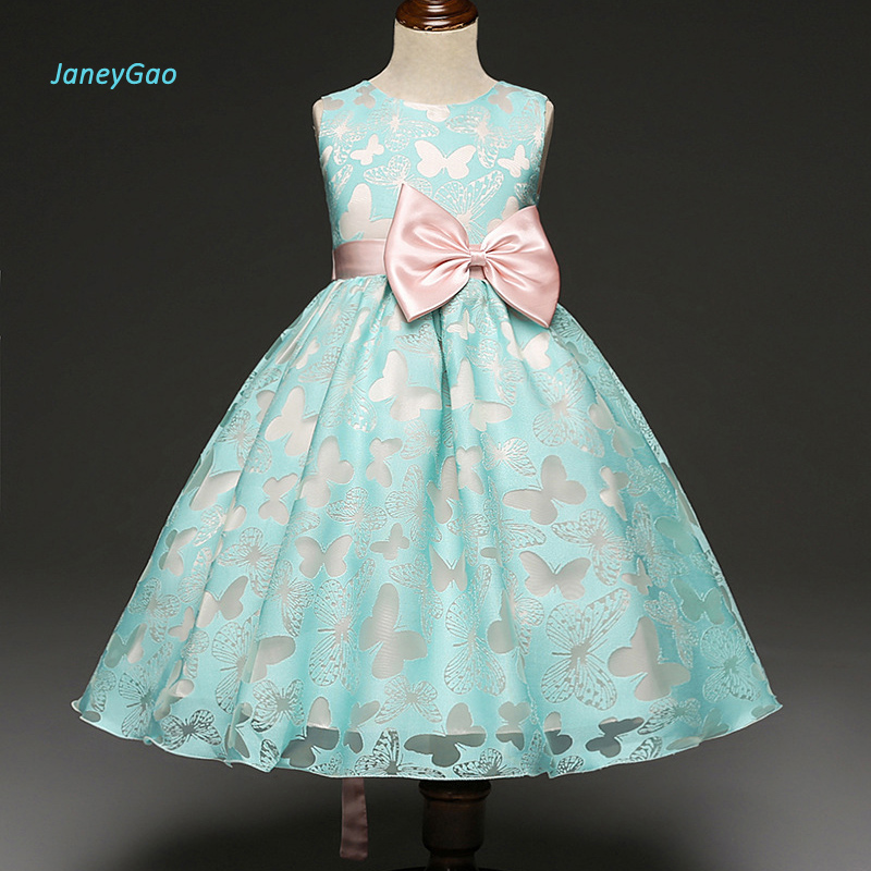 JaneyGao   Flower     Girl     Dresses   2019 New Pageant First Communion   Dresses   for Little Baby Wedding Party Sleeveless Bow Cheap Price