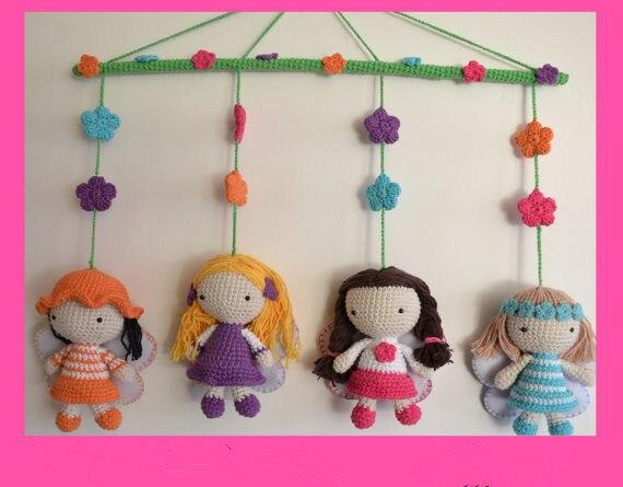 Вязание крючком Amigurumi феи мобильный игрушка кукла погремушка