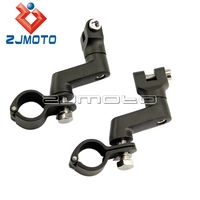 Black Longhorn Offset Peg Mounts 1 1/4 Magnum Motorcycle Engine Guard Clamp For Bobber Chopper Cafe Racer ATV UTV Scooter