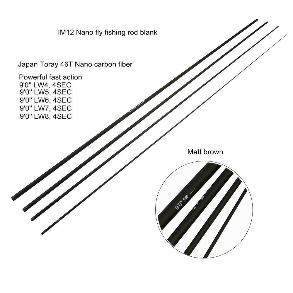 Aventik 9'0'' LW4 To LW8 IM12 Fresh Water Fly Fishing Rod Blanks Super Light Fast Action Fly Rod Blank