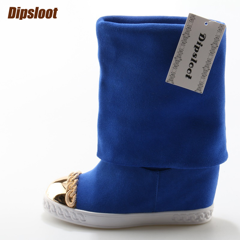 Autumn Fashion Blue Suede Leather Women Slip On Boots Metal Round Toe Ladies  Increasing Heel Boots Casual Style Mid-Calf BootsAutumn Fashion Blue Suede Leather Women Slip On Boots Metal Round Toe Ladies  Increasing Heel Boots Casual Style Mid-Calf Boots