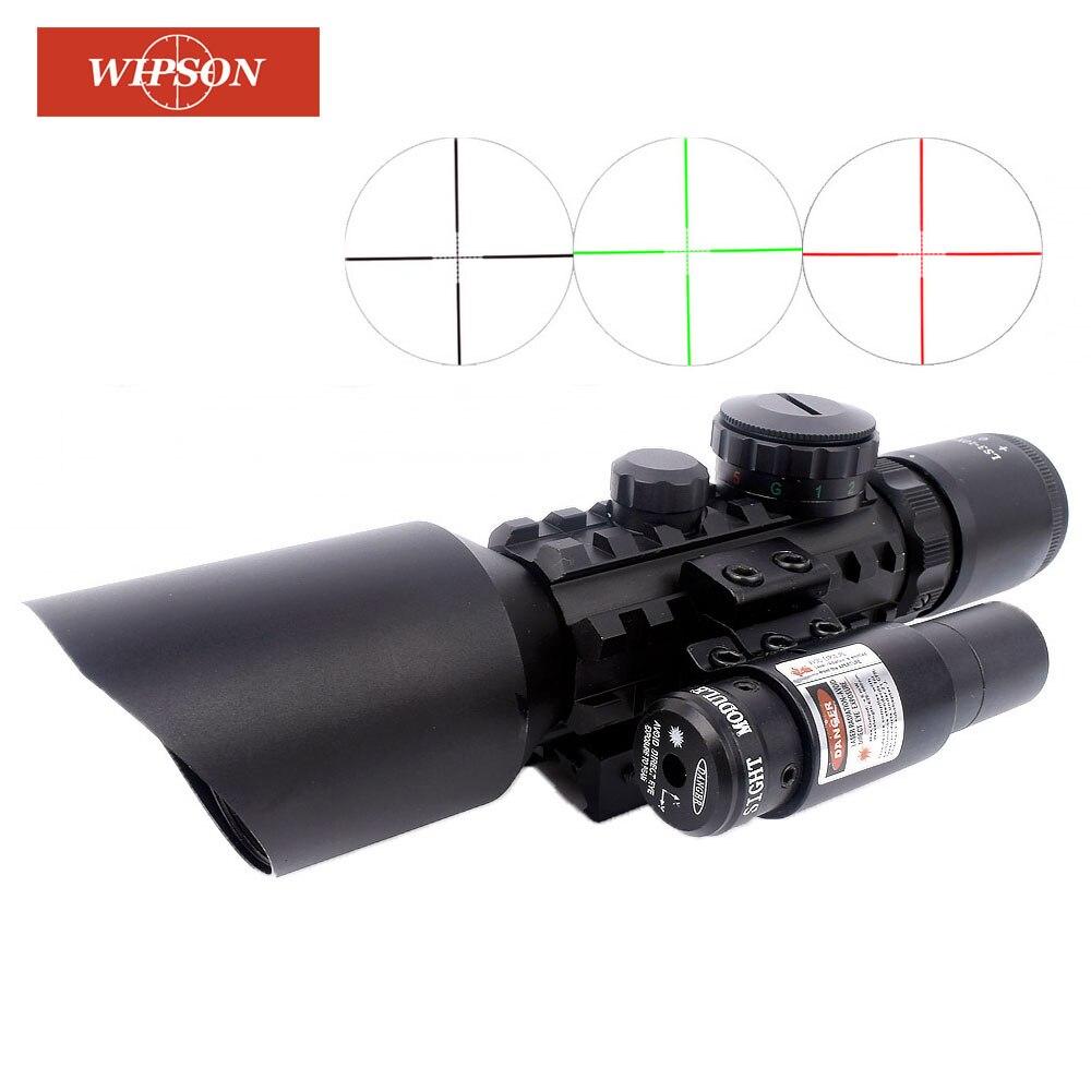 WIPSON 11mm 20mm Ottiche da caccia Scope 3-10x42 Cannocchiale da Puntamento Con Rosso Verde Illuminazione 24 Mil Dot Reticolo E Laser Rosso vista