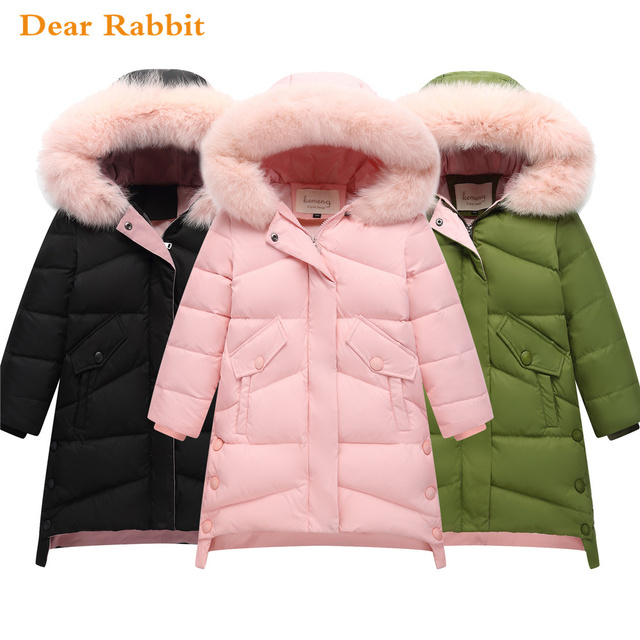 Cheap 2018 New Children Thick Warm Winter Down Jacket for girl clothes long Hooded Outerwear Coats Kids parka Parent-child clothing