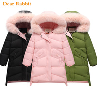2018 New Children Thick Warm Winter Down Jacket for girl clothes long Hooded Outerwear Coats Kids parka Parent child clothing