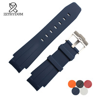 Silicone strap 21mm replacement natural rubber watchband waterproof watch Convex interface accessories pin buckle