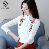 Plus Size 3XL Crochet Basic Women S Blouses 2018 Spring White Lace Women Flower Emboridery Shirt
