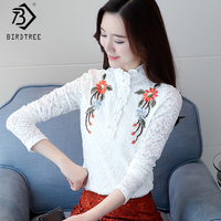 Plus Size 3XL Crochet Basic Women S Blouses 2018 Spring White Lace Women Flower Emboridery Shirt