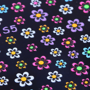 Image 3 - 24 stücke Fluoreszierende Farben Nagel Aufkleber Schmetterling Blume Stern Cartoon Dekoration Aufkleber 3D Transfer Klebstoff Nail art Tipps JIS1 24