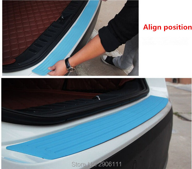 Car rear bumper protective decorative strips for Volvo xc60 s60 s80 s40 v60 v40 xc90 v70 xc70 v50 accessories car styling car rear bumper protective decorative strips sticker for toyota corolla rav4 yaris prius hilux avensis accessories car styling