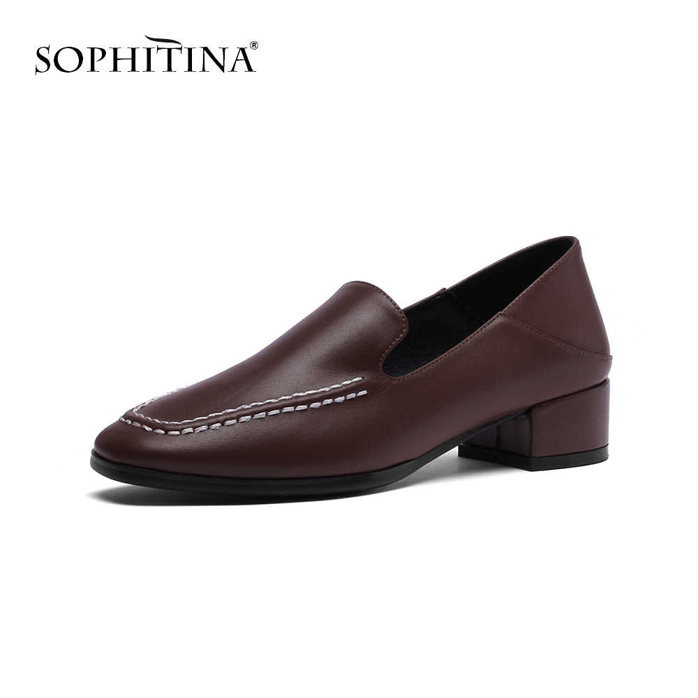 SOPHITINA Fashion Sewing Casual Pumps Comfortable Med Square Toe Slip-on Shoes High Quality Cow Leather Hot Sale New Pumps SO128