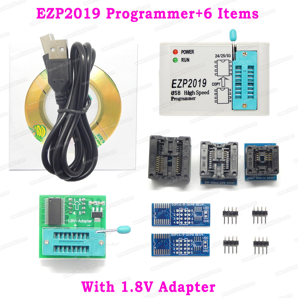 Newest Version 2019 EZP2019 High Speed USB SPI Programmer Support24 25 93 EEPROM 25 Flash BIOS Chip + 6 Items + 1.8V Adapters