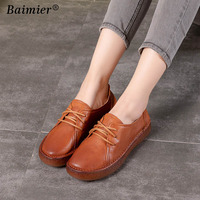 New Fashion Women Flats Shoes elderly flat work shoes soft comfortable woman genuine leather shoes spring autumn Driving shoes