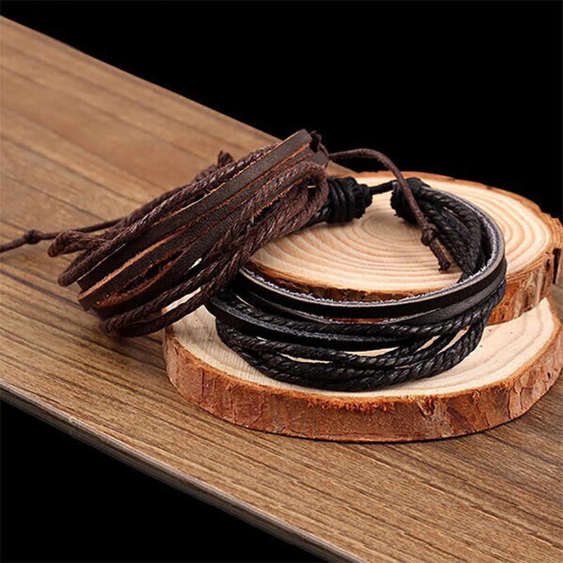 Multilayer Leather Bracelets For Women Men Charm Europe PU Cord Cuff Bangle Rope Chain Wristbands Friendship Jewelry Accessories